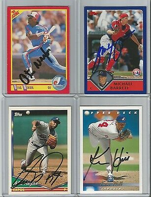Montreal Expos Autographed Baseball Cards - Lot of 10
