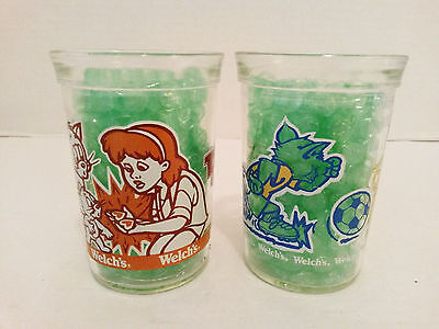 Vintage 2 Welchs Tom & Jerry Jelly Jars Drinking Glasses 1991 & 1993 Collectible