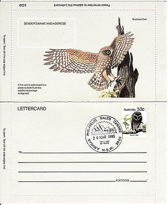 1983 - Australia - Sooty Owl  Pictorial - Letter Card