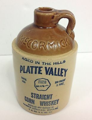 Vintage McCormick Platte Valley Stoneware Whiskey Jug Pint Size Made In The USA