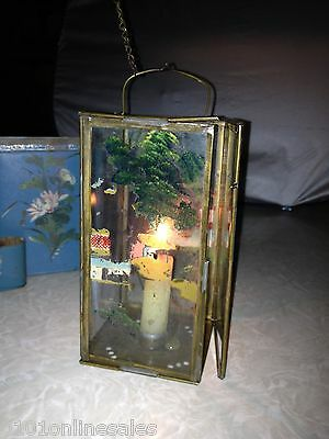 Uncommon Antique Chinese Folding Lantern in Original Hand-Painted Metal Case