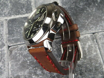 24mm NEW COW LEATHER STRAP Brown Watch Band Red Stitch Pam 1950 24 mm