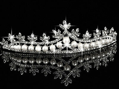 Vintage Reproduction 8.13Ct. Rose Cut Diamond Pearl Silver Antique Tiara Crown
