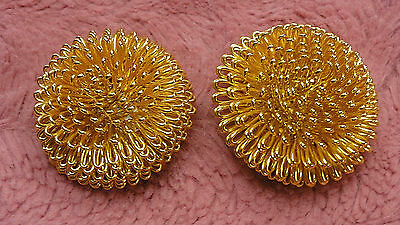 Norma Jean Signed Chunky Earrings Clip On Gold Tone