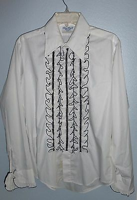 Vintage Palm Beach Formals Men's Ruffled Shirt 1970's White W/ Black Piping