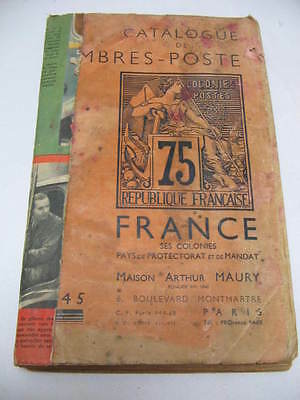 ancien catalogue timbres France et Colonies Maury annee 1945