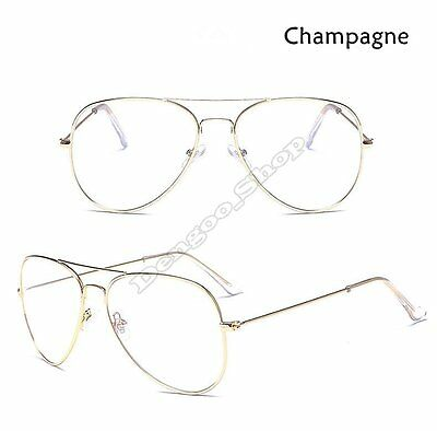 Unisex Gold Metal Frame AVIATOR Clear Lens Glasses Men's Women's Sunglasses