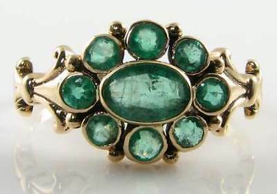 Classic English 9K Gold Vintage Ins Emerald Cluster Ring