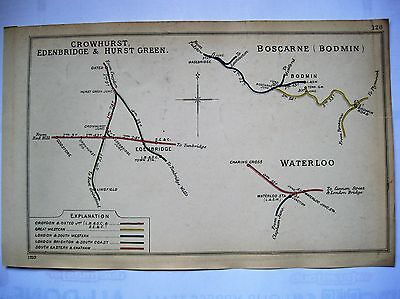 1910 RAILWAY CLEARING HOUSE Junction Diagrams.WATERLOO/BODMIN/CROWHURST.