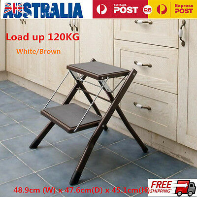 Sturdy 2-Step Mini Stool Ladder Slim Line Folding Steel Frame 120kg Capacity