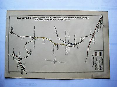 1920 RAILWAY CLEARING HOUSE Junction Diagrams.SHIREOAKS THROUGH TO ROUNDWOOD.