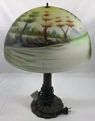 Vintage REVERSE PAINTED Table Lamp Floral Treeline Scenic Glass Lamp Shade