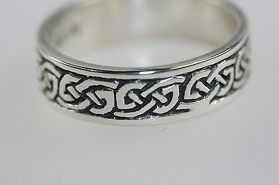 Celtic Cornish Endless Knot Ring Silver ST JUSTIN Band/Wedding ring size L NWT