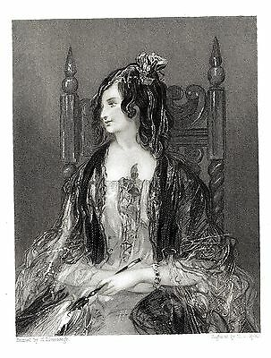 """""""Amina"""" (Byron's Don Juan) Engraved by H. J. Ryall after H.Liverseege - c1834"""