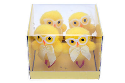 36 packs of 4 easter chickens with glasses 6.5cm craft decoration bulk wholesale