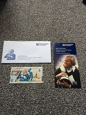 Signed Jack Nicklaus Commerative £5 Note Open St Andrews 2005 in presentation p