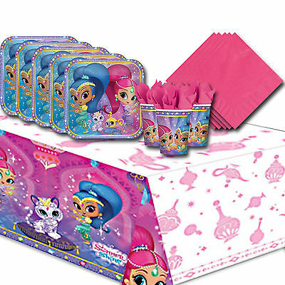 Shimmer and Shine Childrens Birthday Pink Tableware Party Pack Kit For 8 or 16
