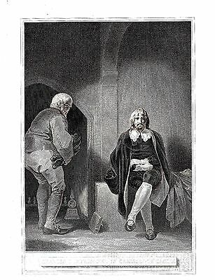 """King Charles I - In Carisbrooke Castle (IOW) after R. Smirke - c1800 (10""""x12"""")"""