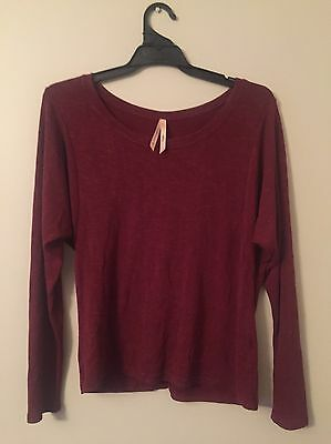 Ally Loose Style Women's Jumper Sweater Knit Maroon Red Size Medium