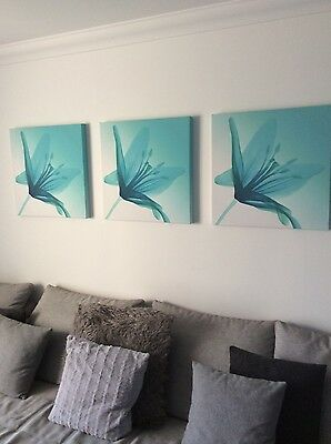Next teal wall art set of 3 pictures