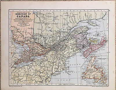 Original Map of the Dominion of Canada - Eastern Part by W & AK Johnston 1899