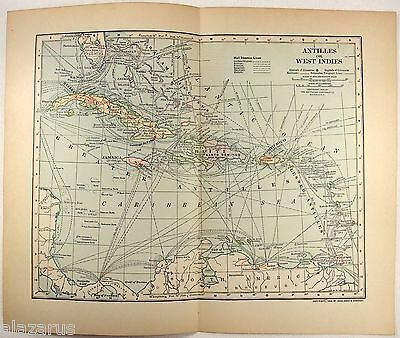 Original 1902 Dated Map of The West Indies by Dodd Mead & Co