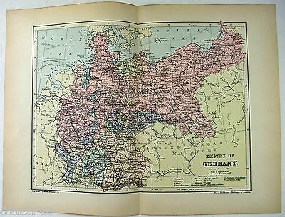 Original 1895 Map of The Empire of Germany by  W & A.K. Johnston