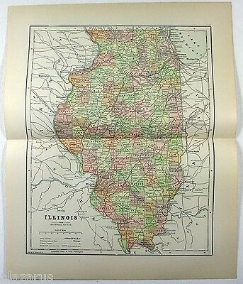 Original 1891 Map of Illinois by Hunt & Eaton