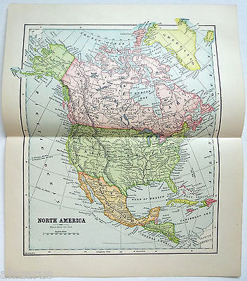 Original 1891 Map of North America by Hunt & Eaton