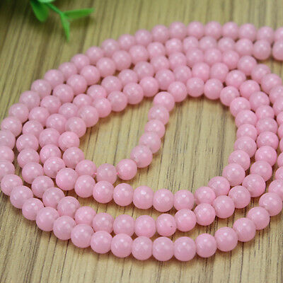 6mm Pink Glass Round Loose Beads Charms Spacers Strand Bracelet Necklace DIY