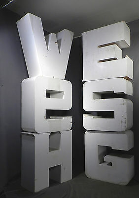 6 Giant Vintage Modern Handmade Wooden Letters GSWME Furniture Sculpture SIGN