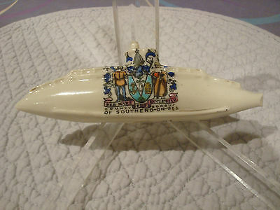 Lovely Southend on Sea crested china model submarine A/F