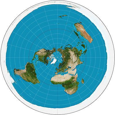 FLAT EARTH MAP - A3 SIZE,  Azimuthal Equidistant Projection - USGS Polar Map USA