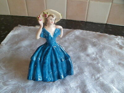 Vintage ornament of a lady dressed in blue