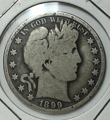 1899 50 Cents Barber Half Dollar USA US United States of America Silver Coin