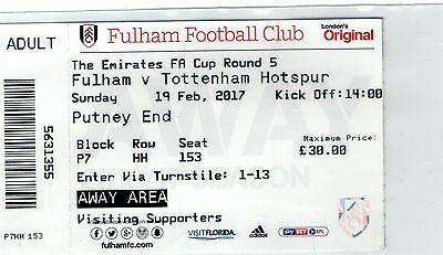 FULHAM V TOTTENHAM(Spurs) - 2016/17 FAC 5 Match Ticket