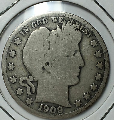 1909 50 Cents Barber Half Dollar USA US United States of America Silver Coin