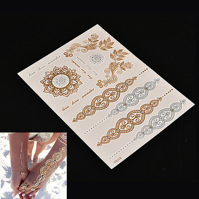 For skin Body Art Gold Silver Metallic Flash Temporary Tattoos Stickers JX