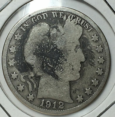 1912 S 50 Cents Barber Half Dollar USA US United States of America Silver Coin
