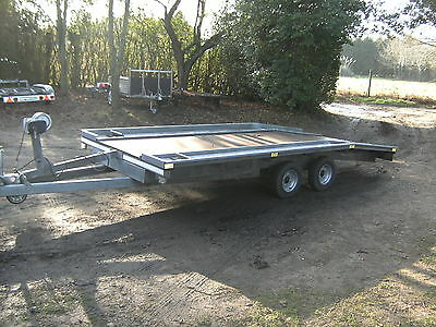 2009  S.g.m. 2000Kg 14Ft Beavertail Car Transporter Trailer With Ramps/winch.