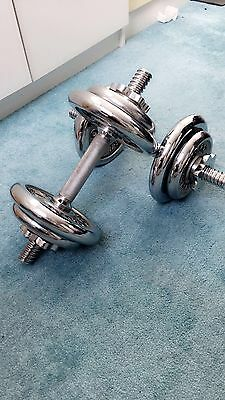 Olympus Chrome Dumbbell Set 18KG Weights Biceps Gym Workout Fitness Training