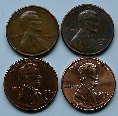 America One Cent Coins x 4.