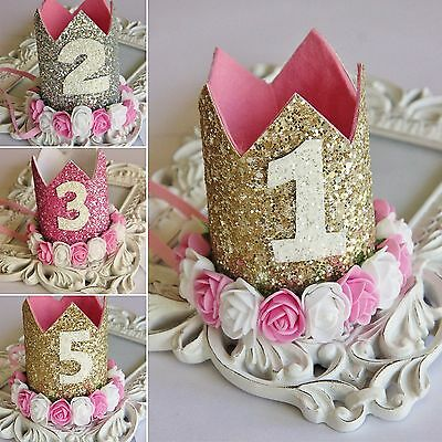 Handmade Glitter Baby Girls Crown Tiara Headband Birthday Cake Smash Photo