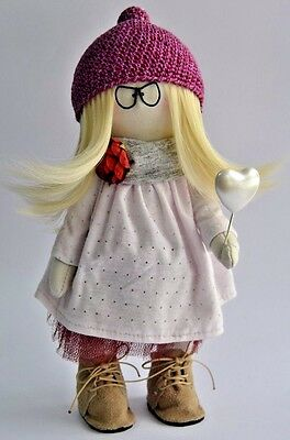 Happy Blonde Girl Textile Doll Interior Stylish Artist Clothes Dress Size 11in