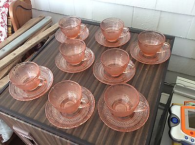 Set of 8 pink glass cup & saucer