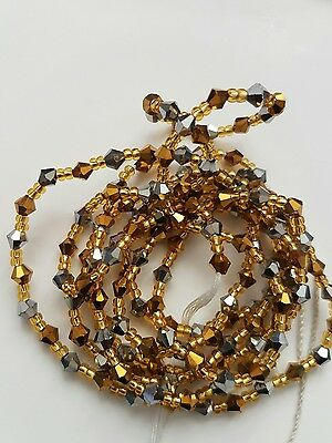 """African Gold & metalic Single Waist Beads, Body Jewellery, 46""""inches long New"""