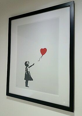 """BANKSY -The Girl With A Balloon-An A3 Print, Mounted in a 16x20"""" Frame"""