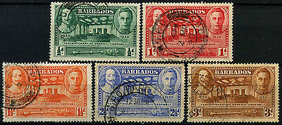 Barbados 1939 SG#257-261 General Assembly KGVI Used Set #D43064