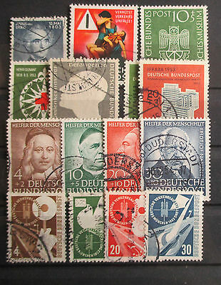 Germany West - 1953 Year Set - All Stamps Issued - Very Fine Used