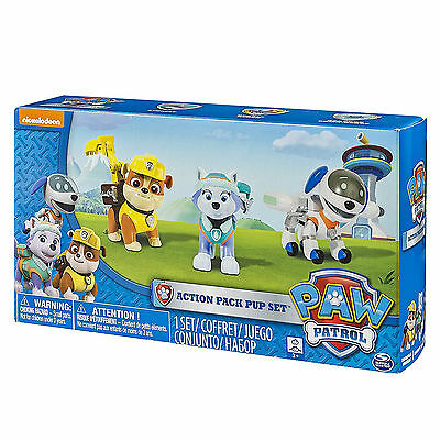 Paw Patrol Action Pack 3 Pup Playset With Everest Rubble and Robodog Games Toys